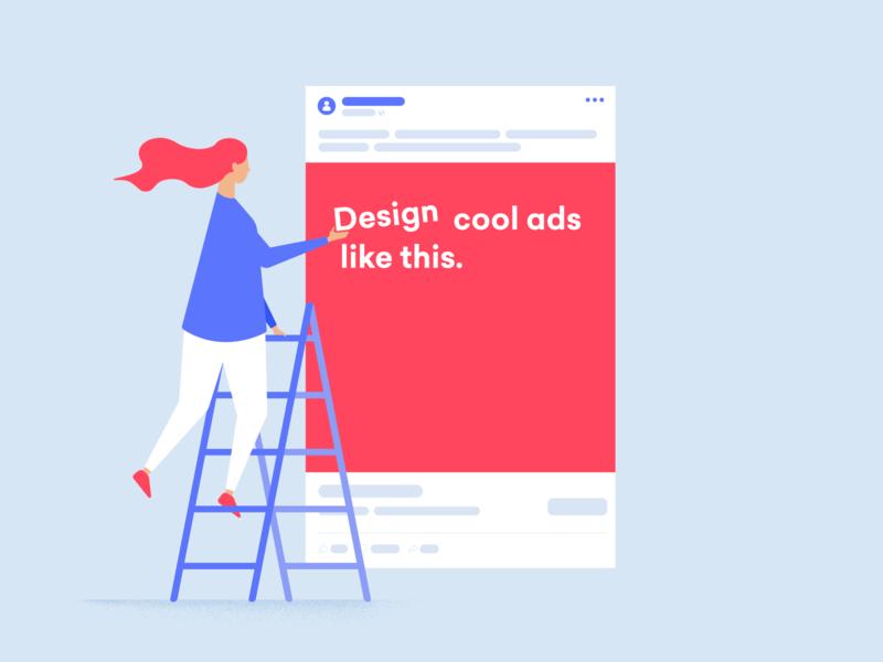 Art Director Ad person woman ad girl ladder social socialmedia facebook texture flat minimal design graphic vector illustration
