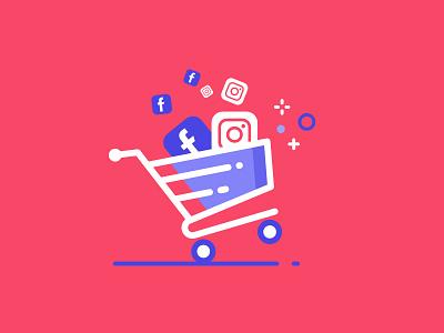 Social Media Shopping design minimal flat vector illustration ecommerce facebook instagram socialmediashopping socialmediamarketing cybermonday blackfriday