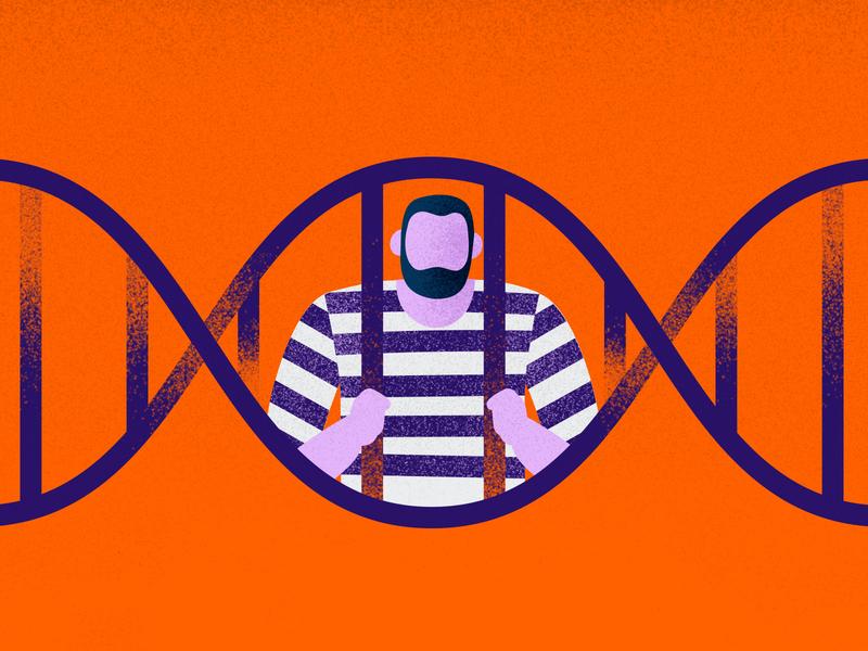 DNA Rape kit editorial texture flat graphic vector prisoner jail dna adobeillustator illustration