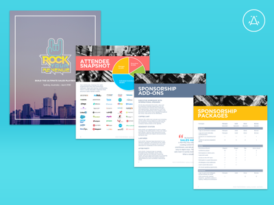 Rock Your Revenue - Sponsor Prospectus b2b sales freelancer pdf design event app b2b sponsor pdf indesign branding