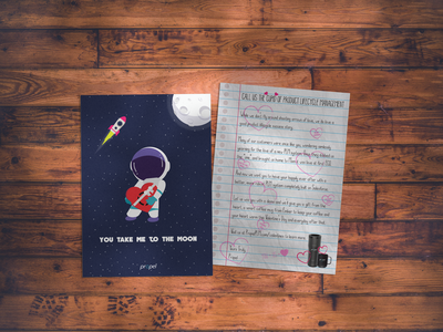 Valentines Direct Mailer design rocket ship space valentines mailer