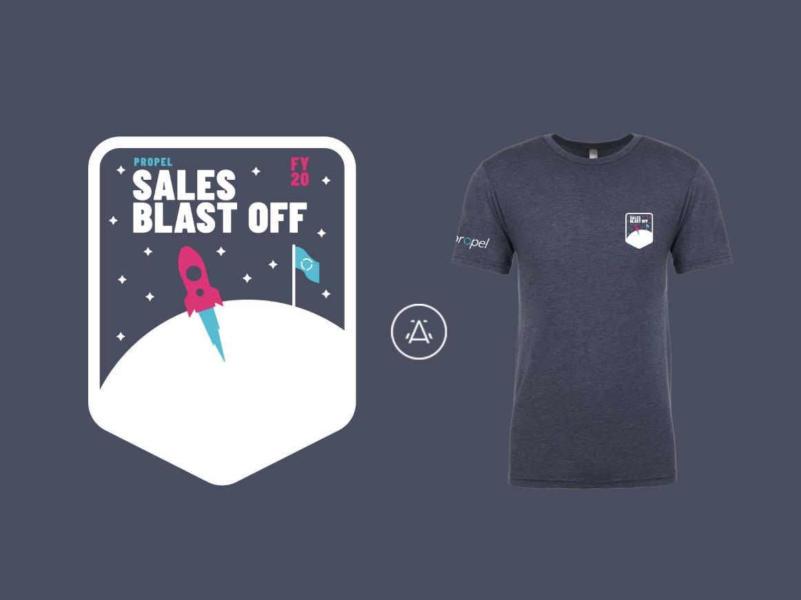 Saas company swag propel rocket ship space design employee shirt new hire  merch startup swag merchandise e9c0bfebac46