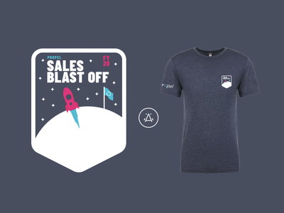 SaaS Company Swag propel rocket ship space design employee shirt new hire merch startup swag merchandise design swag design branding
