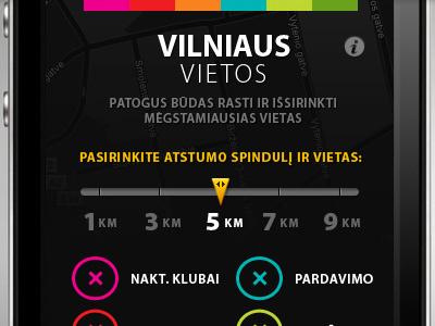 Vilniaus Vietos - old iOS application iphone application design ui black colors