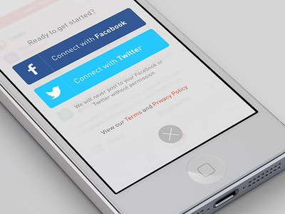 Simple iOS login form with Facebook & Twitter ios iphone trafi login facebook twitter connect minimalistic