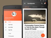 Boredpanda Android app navigation concept