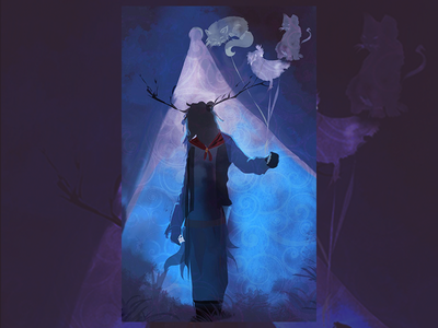 Spooky Midnight character design digital illustration digital art ghost party ghostbusters halloween design halloween carnival warmup clouds outdoor mood scary ghost design dribbbleweeklywarmup spoky illustration halloween party halloween eerie