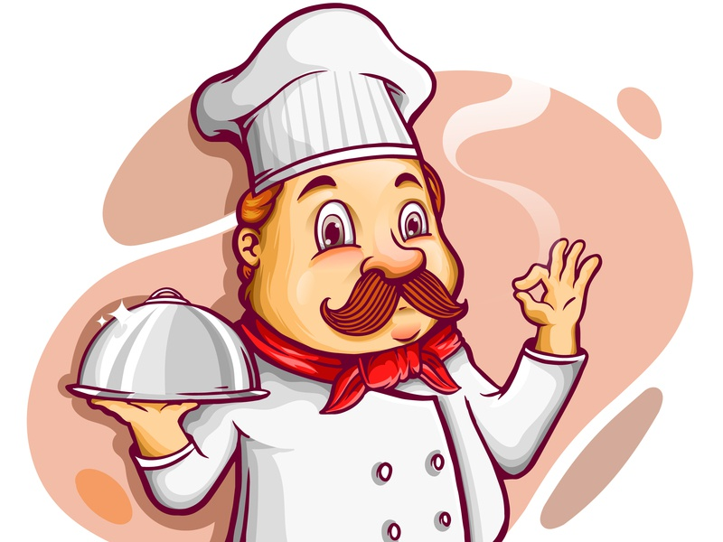 Chef cartoon character holding silver platter character delicate cartoon cute job food chef element designs icon draw animation vector illustration vector mascot logo illustrator illustration graphic design