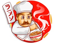 japan chef mascot eat ramen