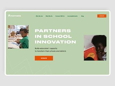 Partners in School Innovation clean graphic design art typography popular portfolio education debut school website animation ux web ui design