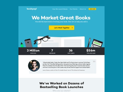 BookPop Landing Page Design landing page web design one page book startup agency