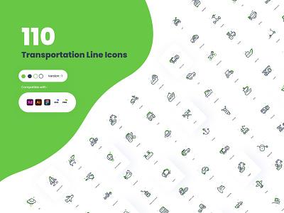 Duo Tone Transportation Icons icon pack icon design uiux vehicles illustration vector ux ui minimal icon set icon