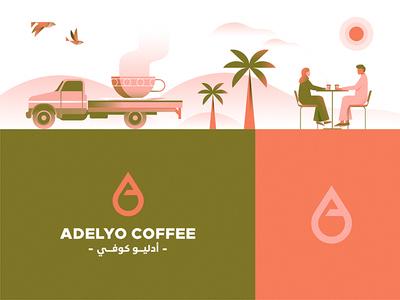 Adelyo coffee symbols vector branding identity colors mark illustration logo symbol