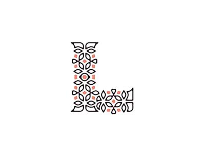 L color dot pink leaf leafs lines floral typography mark symbol letter l