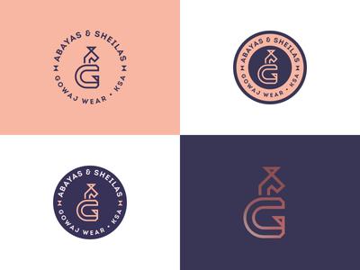 Arabic & English Monogram badge wear typography type symbol monogram logo letter g