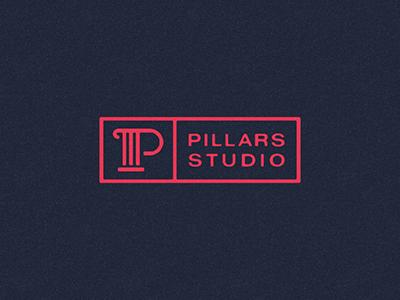 Pillars Studio colors red stroke line type pillar symbol logo p