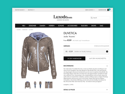 WIP luxodo.com product page