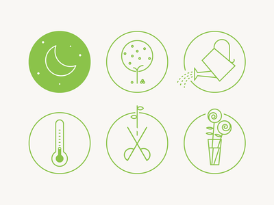 Gardening icons apple tree watering can night thermometer scissors roses illustrator garden flat icon