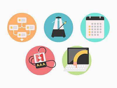 Icon set support pass calendar metronome path music illustrator illustrations icons