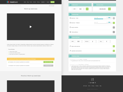 Musicisum lesson page website ux usability ui sketch responsive player music minimal bootstrap