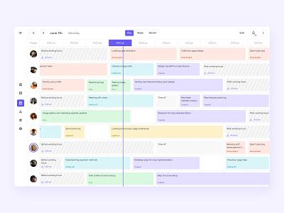 Calendar for management tool sidebar navigation users team meeting timeline web app design project management task tool management calendar