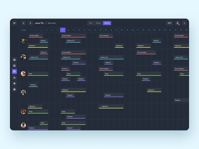 Calendar for management tool - Monthly view - Dark mode dark mode darkmode mode dark organization sidebar user users tool project management navigation meeting management design calendar