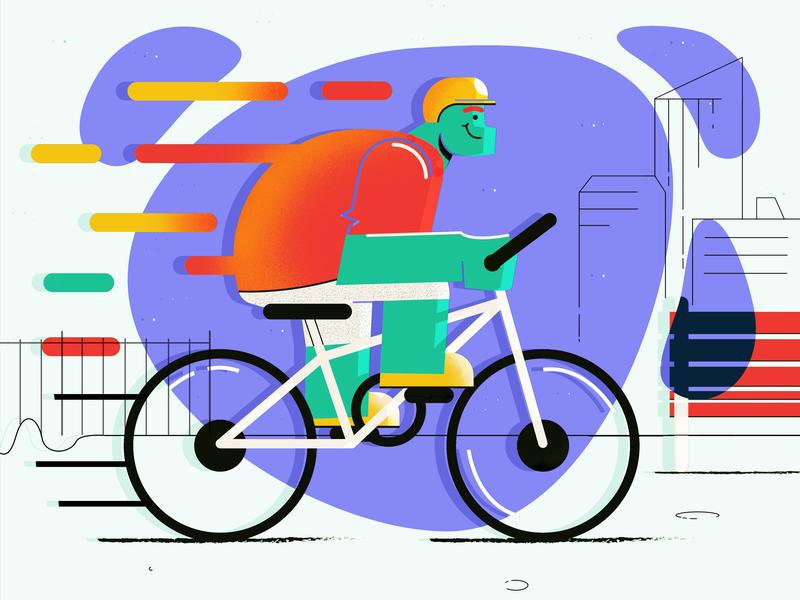 Bicycle Ride 🚴🏻♂️ flat bike dribbble airnauts design ai vector illustration