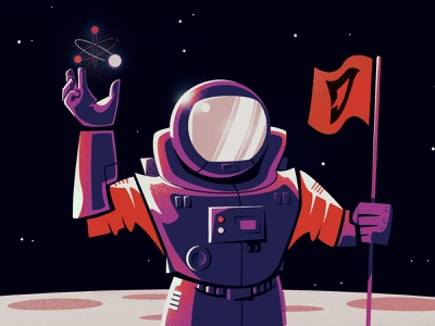 Moonman dangerous suit empty planet flags airnauts moonlight journey bright stars astral travel fly astronaut red space grain vector man moon