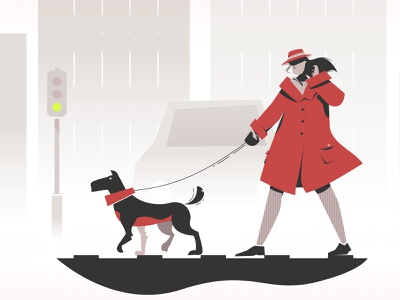 A Walk with the dog together animal light wind skyscrapers city crossing road coat fog sad car dribbble vector socialism comunism red grey dog walk