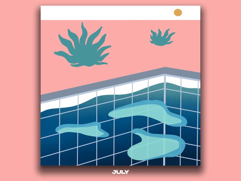Calendar for July july minimalism illustration minimalism calendar illustration calendar 2019 illustration design