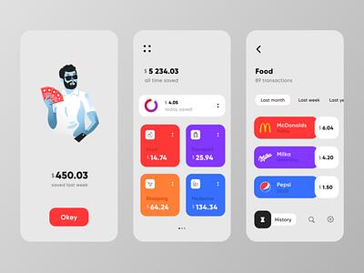 Save Finance App flat illustration icon ux design ui save money finance finance app