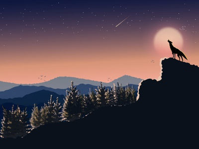 Mountain Landscape Dusk Lighting By Digital Art