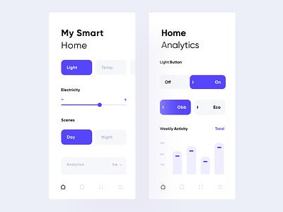 Smart Home cards dashboard liquid blue web ux design ui mobile minimal flat app