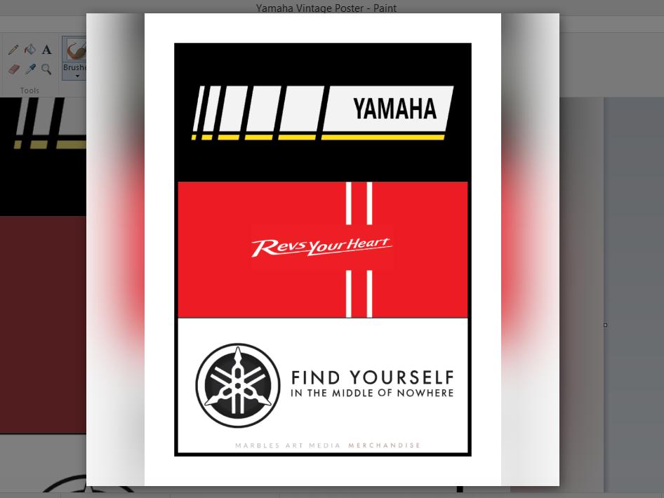 Yamaha Vintage Poster marbles art media trip biker rider merchandise media art marbles poster ride bike yamaha