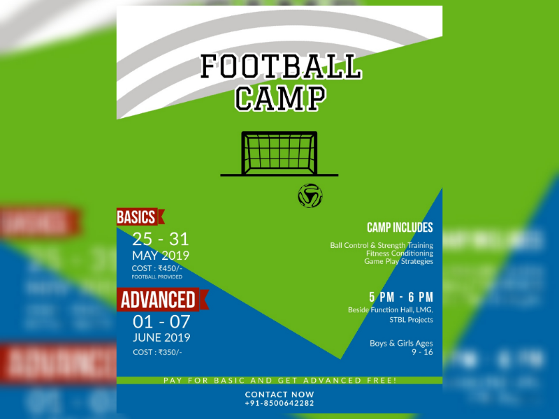 FOOTBALL CAMP futbol visakhapatnam sessions training kids camp summer illustrator design illustration adobe poster soccer football