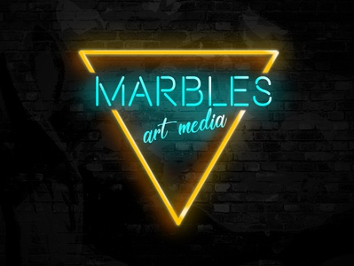 Marbles Neon glow media marbles neon app web icon ux ui typography branding logo art adobe design illustration poster