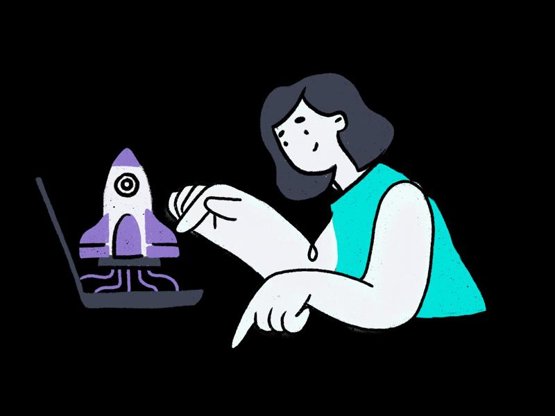Hello dribbble ✌️😎 digital art success growth do work rocket female illustration lestylo chennai