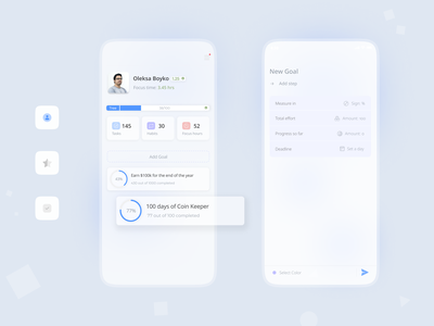 User Profile with social mission minimal dashboard stats project habit tracker to do social mission clean ui app ui productivity profile