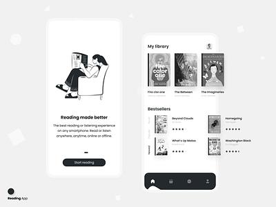 Reading App Design black reading app elegant dark ui clean ui clean design book ebook e-book