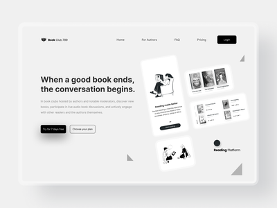 Landing page for Book startup ebook publishing for authors reading app read platform web design audiobooks book