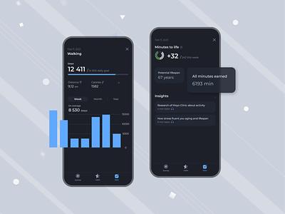 Step counter app - Zen Walk health app activity tracking black clean ui clean design app ui walk step counter night mode dark mode