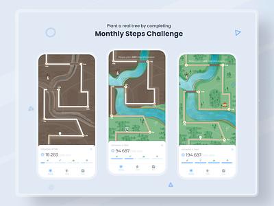 Monthly steps challenge - Zen Walk route path road points checkpoints progress map run walk steps