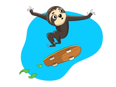 Dynamic sloth skate dinamic sloth sticker digital vector illustration design art