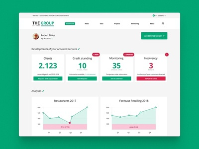 Dashboard screen design green graphs cards data clean ui dashboard