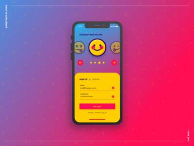Sign Up bold iphone x iphone magenta yellow colors sign up challenge ui daily ui challenge