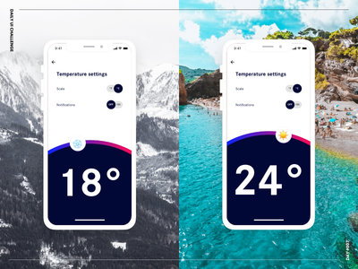 Settings temperature light dark detail bold colors settings challenge ui daily ui challenge