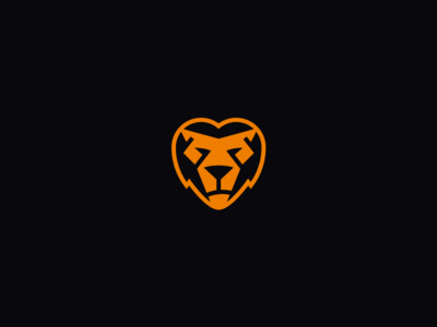 Logo Refinement branding personal black orange dark light bold heart lion lionheart portfolio logo