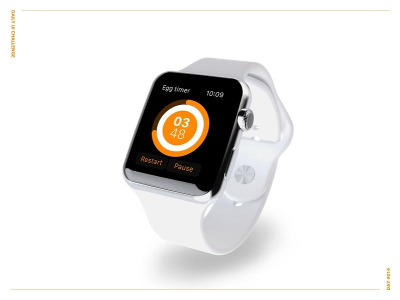 Countdown Timer 14 watch black orange ux timer egg ui applewatch dailyui