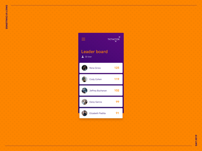 Leader Board challenge dark light colors ux daily ui challenge orange design portfolio ui