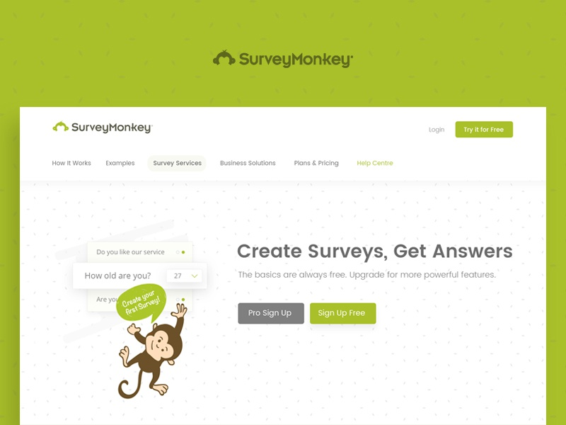 Survey Monkey Website Concept experiment forms green landing page concept survey monkey